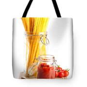 Tomatoes Sauce And  Spaghetti Pasta  Tote Bag by Amanda Elwell