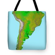 Topographic View Of South America Tote Bag