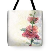 Touch Of Summer Hollyhocks Watercolor Tote Bag