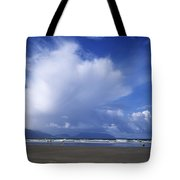 Tourists On The Beach, Inch Beach Tote Bag