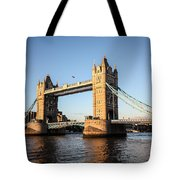Tower Bridge And Helicopter Tote Bag