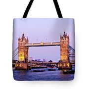 Tower Bridge In London At Dusk Tote Bag