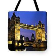 Tower Bridge In London At Night Tote Bag