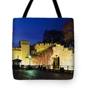 Tower Of London Walls At Night Tote Bag by Elena Elisseeva
