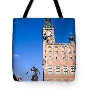 Town Hall And Neptune Fountain In Gdansk Tote Bag