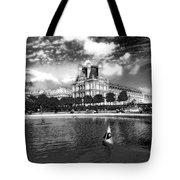 Toy Boating In A Parisian Park Bw Tote Bag