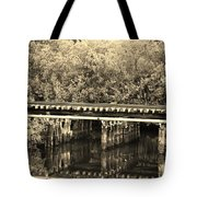 Track On The River In Sepia Tote Bag