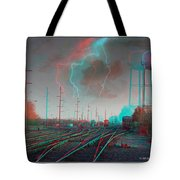 Tracking The Storm - Red-cyan Filtered 3d Glasses Required Tote Bag