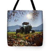 Tractor In Backlight Tote Bag