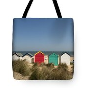 Traditional Beach Huts In The Sand Tote Bag