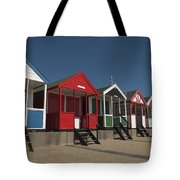 Traditional Beach Huts On The Seafront Tote Bag
