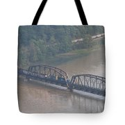 Train Along New River 3 Tote Bag