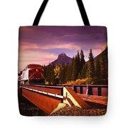 Train Going Over A Bridge Banff Tote Bag
