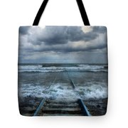 Train Tracks Into The Sea Tote Bag
