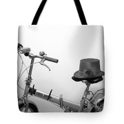 Traveling In Style . Black And White Tote Bag