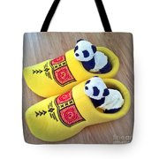 Travelling Pandas Series. Dutch Weekend. Cozy Dutch Clogs. Square Format Tote Bag