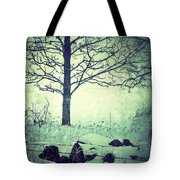 Tree And Fence In The Fog And Snow Tote Bag