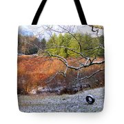 Tree And Tire Swing In Winter Tote Bag