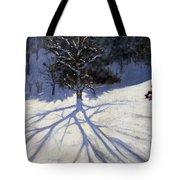 Tree And Two Tobogganers Tote Bag by Andrew Macara