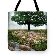 Tree By Stream Tote Bag