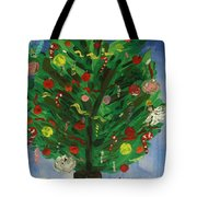 Tree In The Blue Room Tote Bag
