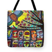 Tree Of Life People Pink Bird Tote Bag