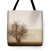 Tree Silhouette In Fog Tote Bag
