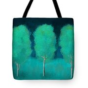 Trees In Triplicate Moonlit Winter Tote Bag by Robin Lewis