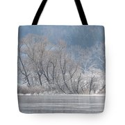 Trees On A Frozen Lake Tote Bag