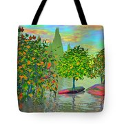 Trees On Rocks In A Lake Tote Bag