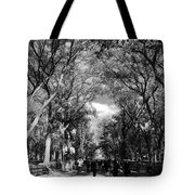 Trees On The Mall In Central Park In Black And White Tote Bag