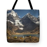 Trekkers Camp Near Carhuacocha Lake Tote Bag