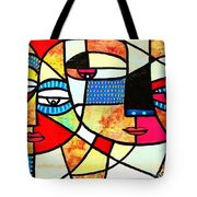 Tribal Batik Mask Reflection Tote Bag
