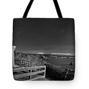 Trinidad Memorial Lighthouse In Black And White Tote Bag