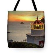 Trinidad Memorial Lighthouse Sunset Tote Bag