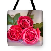 Trio Of Pink Roses Tote Bag