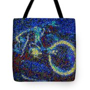 Tron Light Cycle Skittles Mosaic Tote Bag by Paul Van Scott