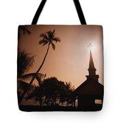 Tropical Church In Silhouette Tote Bag