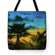 Tropical Sunset With Pelicans Tote Bag