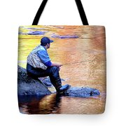 Trout Fisherman In Autumn Tote Bag