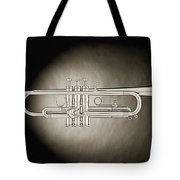 Trumpet On Spotlight B And W Tote Bag