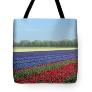 Tulip And Hyacinth Fields In Holland. Panorama Tote Bag