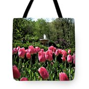 Tulips And Fountain Tote Bag
