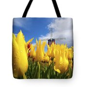 Tulips In A Field And A Windmill At Tote Bag