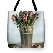 Tulips In Metal Vase Tote Bag