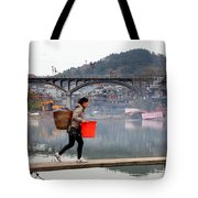 Tuojiang River In Fenghuang Tote Bag