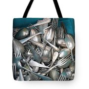 Turquoise Box Of Silverware Tote Bag