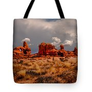 Turret Arch And Storm Clouds Tote Bag
