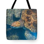 Turtle Underwater,high Angle View Tote Bag