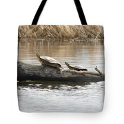 Turtles Pretending To Be Part Of The Log Tote Bag